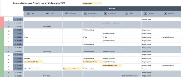 Excel Vorlage Kommunikationsplan